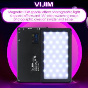 Đèn Led RGB Ulanzi Hỗ trợ quay phim thiếu sáng VIJIM VL-2, Thay đổi nhiệt độ màu, chỉnh ánh sáng và hiệu ứng ấn tượng