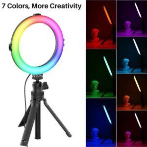 ULANZI VIJIM K9 RGB – Đèn LED đổi màu Ring Light Stand + Phone Holder